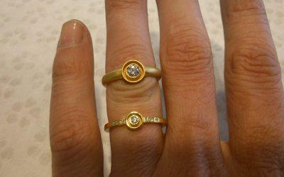 Verlobungsringe aus 585/-Gelbgold mit Brillanten