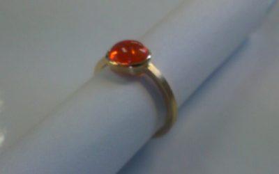585/-Gelbgoldring mit Mandaringranat