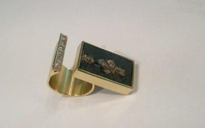 Schiefer-Brillantring aus 585/-Gelbgold